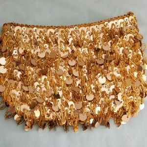 Funky 60's Look Gold Coin Clutch Purse VTG 60's